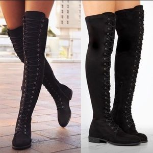 Lace Front Knee High Boots